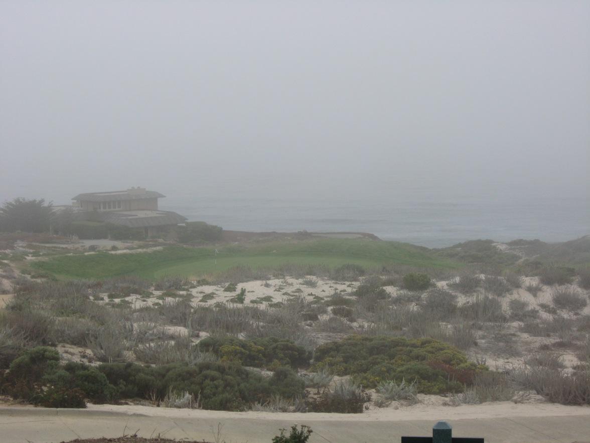 Par 3 #rd hole, green below, looking towards ocean