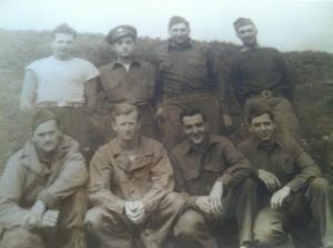 Joe Shortall (second from left, front row) during World War II