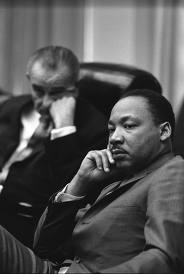 Martin Luther King, Jr and LBJ at a meeting in the Kennedy White House
