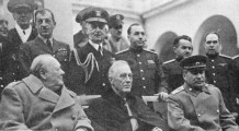Admirals King, top left and Leahy, behind FDR, at the Yalta Conference in June 1945
