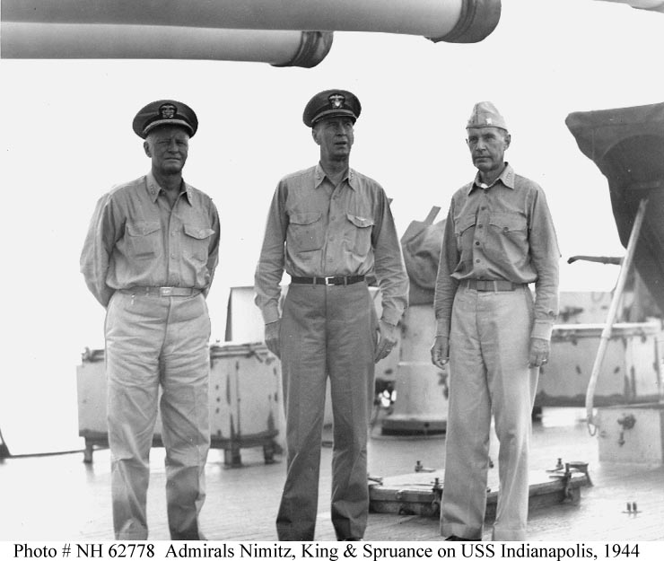 Fleet Admirals Nimitz and King with Admiral Raymond Spruance aboard the U.S.S. Indianapolis