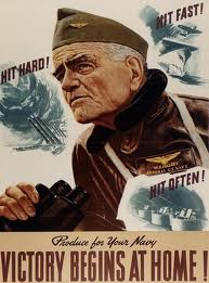 "Admiral ""Fighting Bill"" Halsey on a Victory poster"