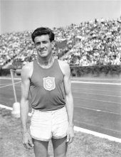 Zamperini as an Olympic-class runner for University of Southern California