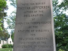 Memorial marker at Jefferson's Monticello gravesite