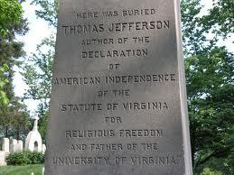 Memorial marker at Jefferson's Monticello gravesite