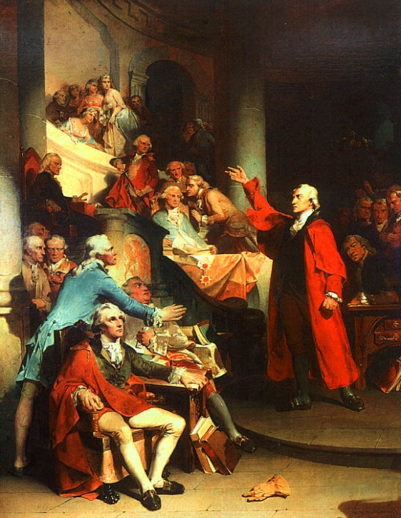 Patrick Henry gives his Stamp Act speech