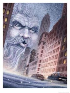 004c0803llold-man-winter-blowing-bad-weather-into-a-city-posters